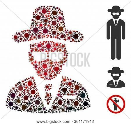 Collage Agent Composed Of Flu Virus Icons In Different Sizes, Red Colors. Vector Infection Icons Are