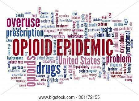 Opioid Epidemic Or Opioid Crisis In The United States. Word Cloud Concept.