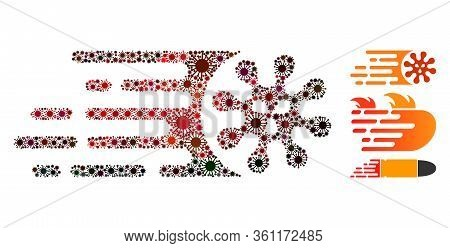 Mosaic Gone Viral United From Flu Virus Icons In Different Sizes, Red Colors. Vector Pathogen Icons