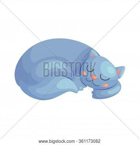 Cute Cartoon Cat Sleeping. Lazy Kitten Animal Vector Illustration. Baby Nursery Nap Poster Design.