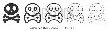 Skull And Crossbone Vector Icons. Set Of Skull Symbols On White Background. Vector Illustration. Var