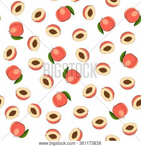 Illustration On Theme Big Colored Seamless Peach, Bright Fruit Pattern For Seal. Fruit Pattern Consi