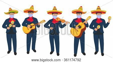 Mexican Street Musicians In Sombrero And Protective Medical Masks Play Musical Instruments During Th