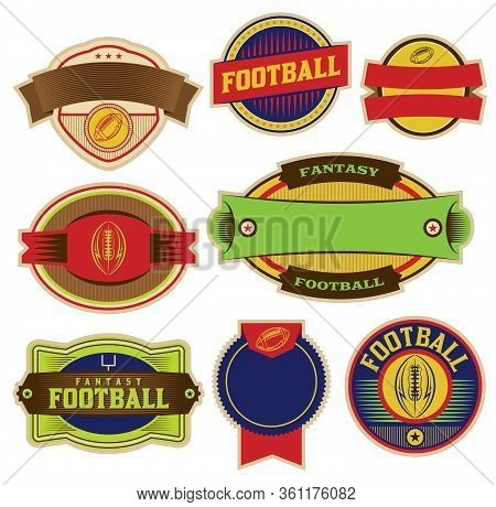 A Set Of Colorful Fantasy Football Emblems, Badges, And Labels Illustration. Vector Eps 10 Available