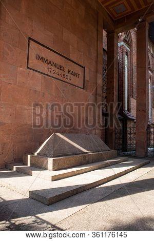 Kaliningrad, Russia - June 20, 2019: Mausoleum And Grave Of Immanuel Kant, German Philosopher, Found