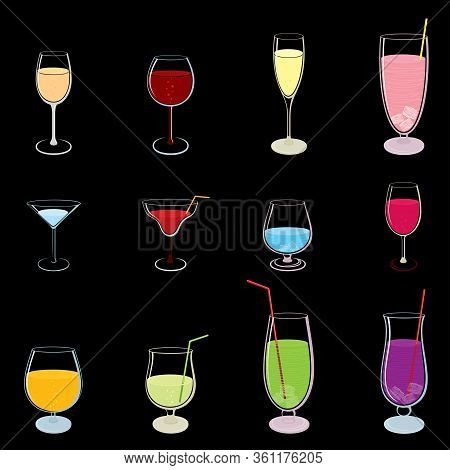 Vector Set Of Outline, Abstract, Colorful Stemware, Drinks And Glasses, Isolated, On Black Backgroun