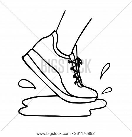 Sneakers Running Through Puddle. Vector Illustration, Running Concept, Waterproof Shoe