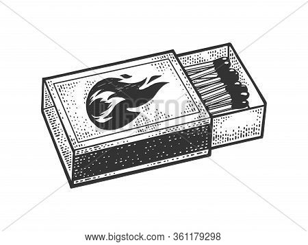 Matchbox Sketch Engraving Vector Illustration. T-shirt Apparel Print Design. Scratch Board Imitation