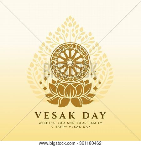 Vesak Day Banner With Dharmachakra Wheel Of Dhamma On Lotus Sign And Bodhi Tree Background Vector De