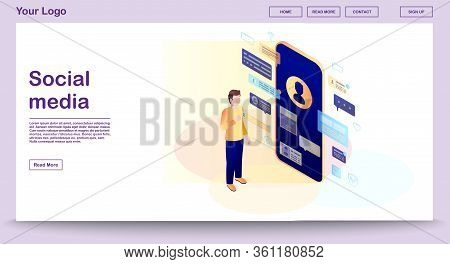Social Media Webpage Vector Template With Isometric Illustration. Website Interface Design. Online C