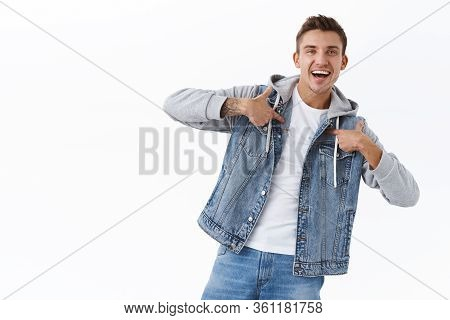 I Am Guy You Looking For. Portrait Of Happy Smiling Boastful Man, Pointing Himself And Smiling Broad