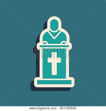 Green Church Pastor Preaching Icon Isolated On Green Background. Long Shadow Style. Vector Illustrat