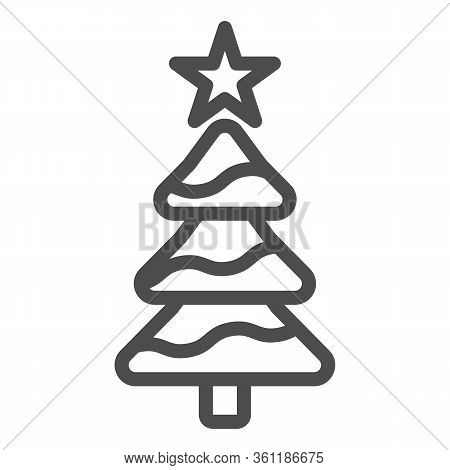 Tree With A Star Line And Solid Icon. Decorated Conifer Firtree Outline Style Pictogram On White Bac