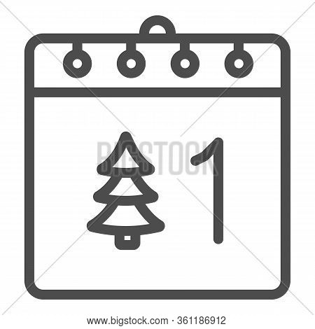 Calendar With Tree Line And Solid Icon. Date Page With Firtree And 1st Of January Day Outline Style
