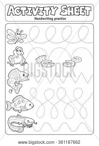 Activity Sheet Handwriting Practise 7 - Eps10 Vector Picture Illustration.
