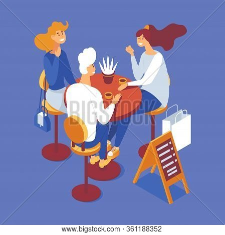 Group Of People Having Brunch Or Coffee Break. Isometric Scene With Man And Women, Cups And Table. C