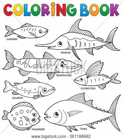 Coloring Book Various Fishes Theme Set 1 - Eps10 Vector Picture Illustration.