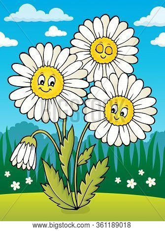 Daisy Flower Theme Image 2 - Eps10 Vector Picture Illustration.