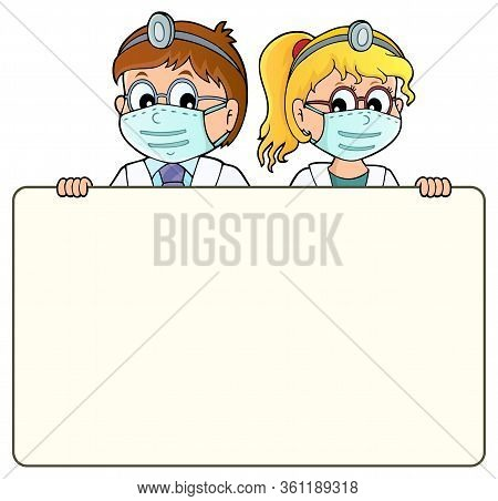 Doctors Holding Blank Panel Theme 1 - Eps10 Vector Picture Illustration.