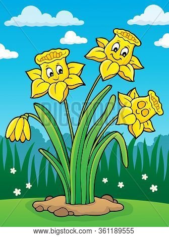 Narcissus Flower Theme Image 2 - Eps10 Vector Picture Illustration.