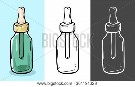 Glass Bottle For Cosmetics With A Pipette. Suitable For Serum, Essential Oil, Emulsion.