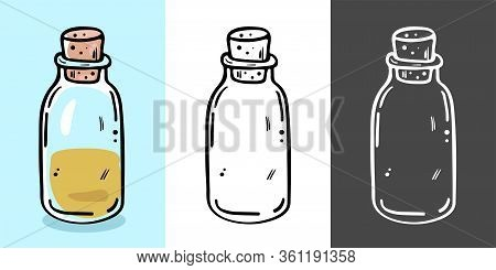 Glass Bottle For Cosmetic With Cork. Suitable For Serum, Essential Oil, Emulsion.