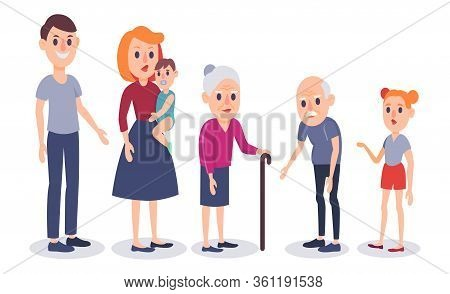 Happy Family Portrait. Colorful Flat Design Vector Illustration. Father, Mother, Grandfather, Grandm