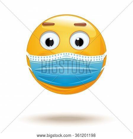 Emoji In Medical Mask. Medical Mask Emoji Icon. Emoji Wearing A Protective Surgical Mask. Citizen We