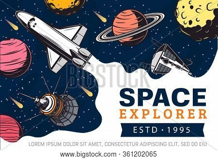 Outer Space Exploration And Galaxy Trips Adventure Vector Poster. Astronaut Explorers Spaceship Shut