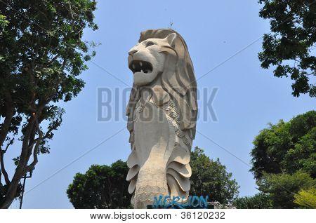 Merlion Statue on Sentosa Island in Singapore
