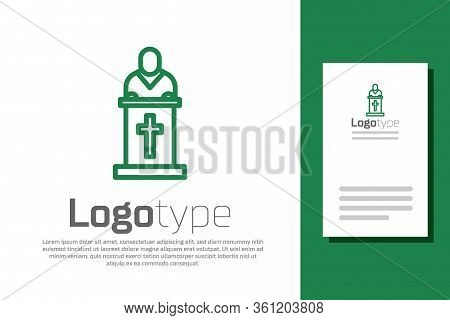 Green Line Church Pastor Preaching Icon Isolated On White Background. Logo Design Template Element.