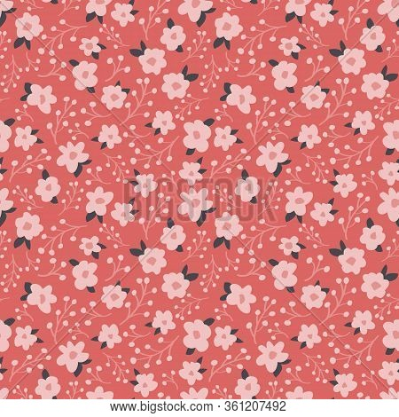 Tonal Daisy Vector Repeat With Berries. Perfect For Home, Kids, Stationary, Wrapping, Scrapbooking.