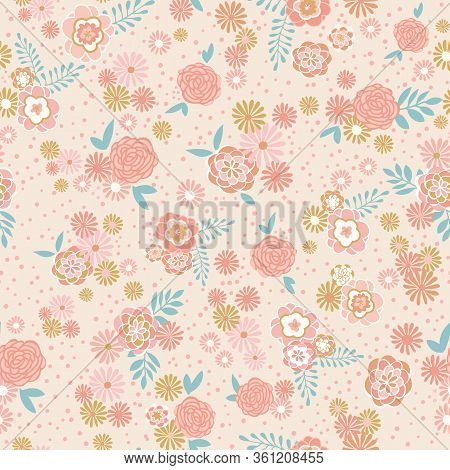 Tonal Floral Vector Repeat With Dots And Leaves. Perfect For Home, Kids, Stationary, Wrapping, Scrap