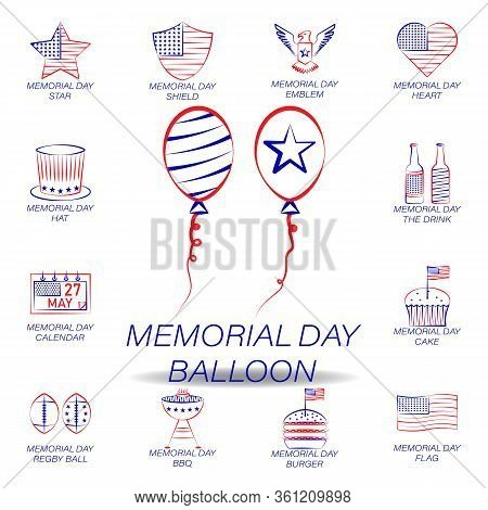 Memorial Day Balloon Colored Icon. Set Of Memorial Day Illustration Icon. Signs And Symbols Can Be U