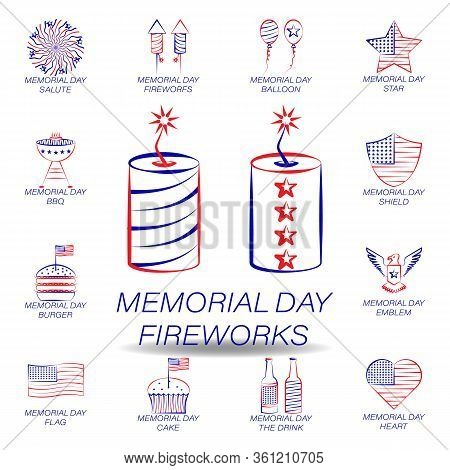 Memorial Day Fireworks Colored Icon. Set Of Memorial Day Illustration Icon. Signs And Symbols Can Be