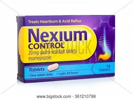 London, Uk - April 05, 2020: Box Of Nexium Control Tablets On White. Treats Heartburn And Acid Reflu