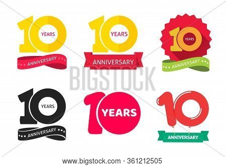 10 Years Anniversary Logo Vector Icon Or 10th Year Birthday Symbol Collection Flat Cartoon, Ten Birt