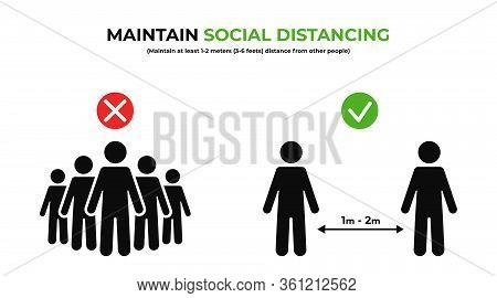 Maintain Social Distancing. Keep Safe Distance In Public. Social Distancing Prevention To Protect Fr