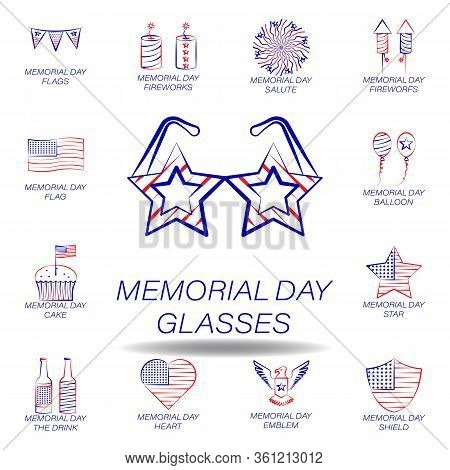 Memorial Day Glasses Colored Icon. Set Of Memorial Day Illustration Icon. Signs And Symbols Can Be U