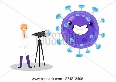 Coronavirus And Doctor Vektor Illustration. Scientist In Medical Clothes Exploring Enlarged Flu Viru