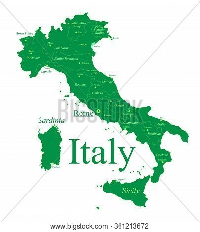 Detailed Italy Map By Region. Italy Administrative Divisions Map. Image Contains With Administrative