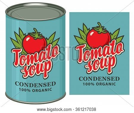 Vector Banner For Condensed Tomato Soup. Label Design With A Red Tomato, Green Leaves, Inscription A