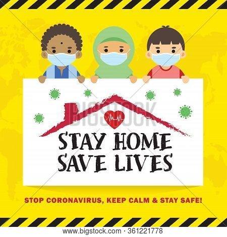 Covid-19 Quarantine Campaign Of Stay At Home Flat Design. Cartoon Malaysian In Face Mask Holding Sig