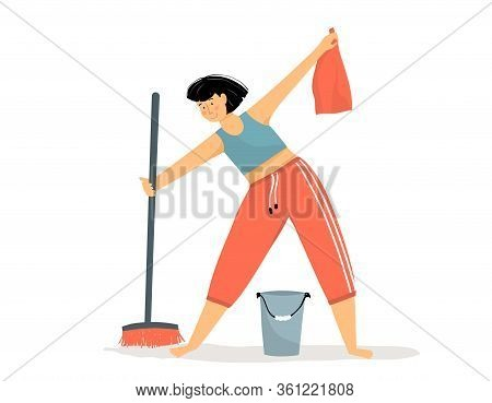 Woman Daily Routine Cleaning Floor In The House With Broom And Bucket Of Water. Happy Girl Washing A