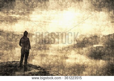 Discovery Pure Nature  Concept. Hiker Woman With Long Hair  Rises To The Mountain Top Against Backdr