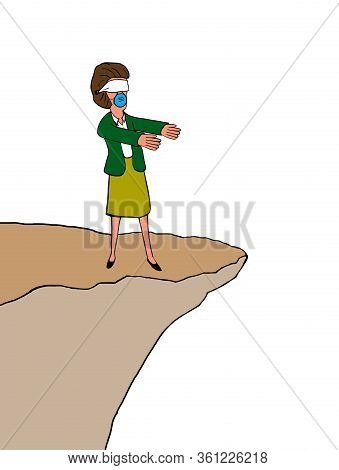 Color Cartoon Showing A Blindfolded Professional Business Woman With Arms Outstretched, Not Realizin