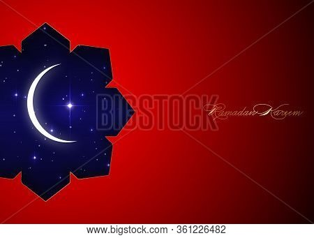 Ramadan Kareem Greeting Card With White Crescent Moon And Big Shiny Star. Red Luxury Poster Or Invit