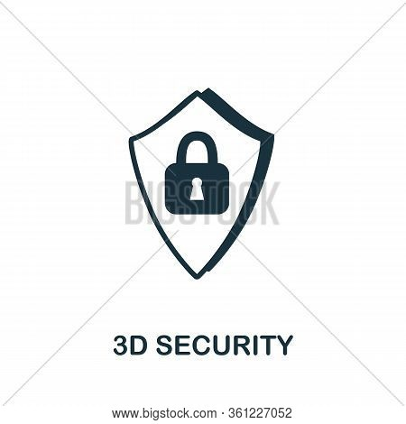 3d Security Icon. Simple Illustration From E-commerce Collection. Creative 3d Security Icon For Web