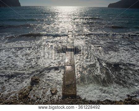Playa Roca De Camp De Mar, Es Camp De Mar. Bay In Camp De Mar, Balearic Islands, Spain.