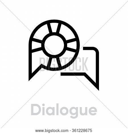Dialogue Help Support Icon. Editable Vector Stroke.
